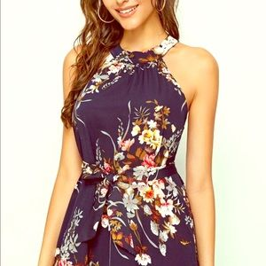 SHEIN Floral Print Tie Back belted Maxi Dress